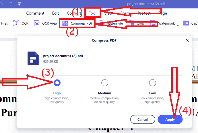 Compress PDF file