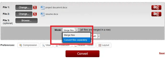 select the mode