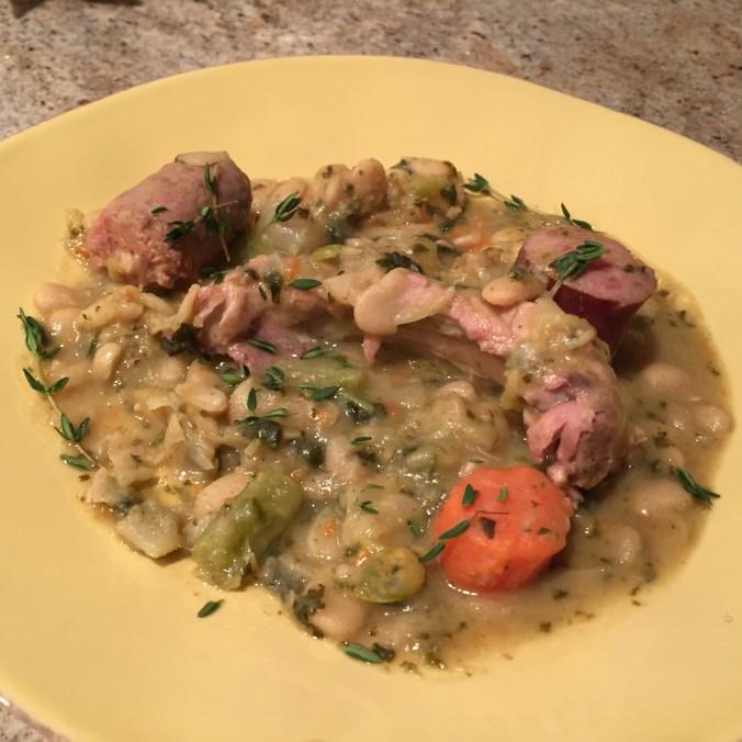 Kale, Sausage, Rib and Lima Bean Stew