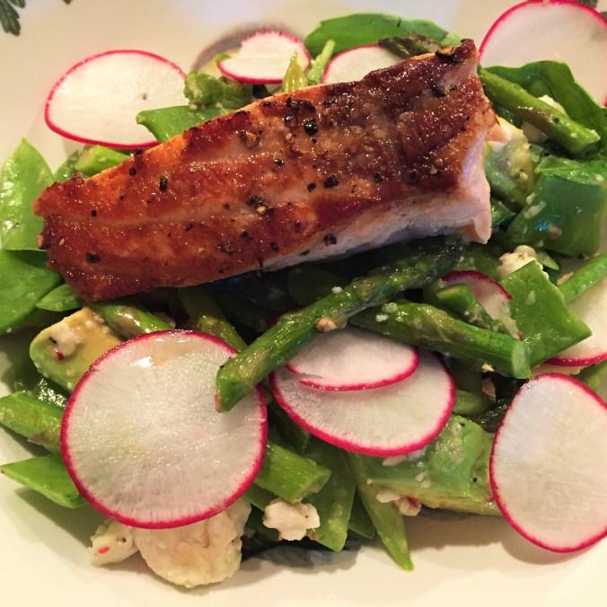 snap peas with salmon
