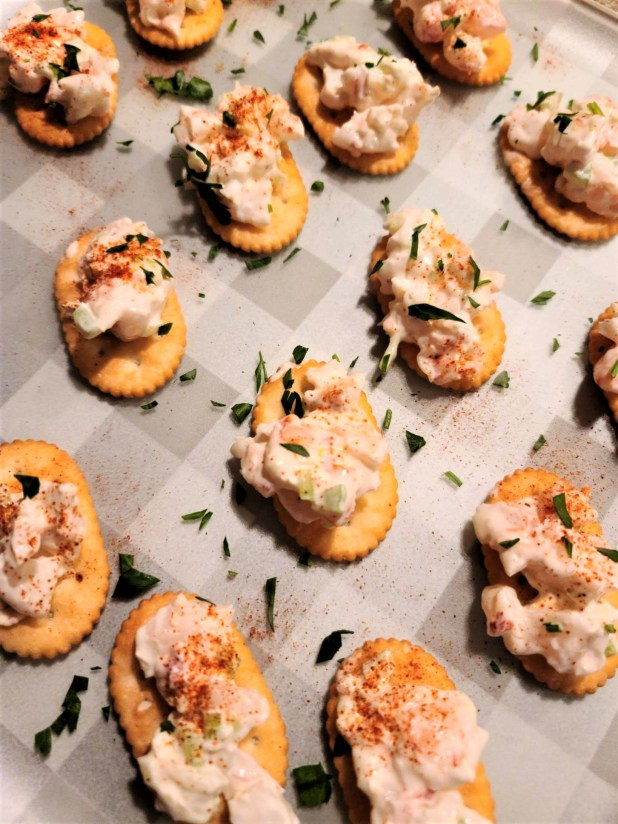 Shrimp on crackers