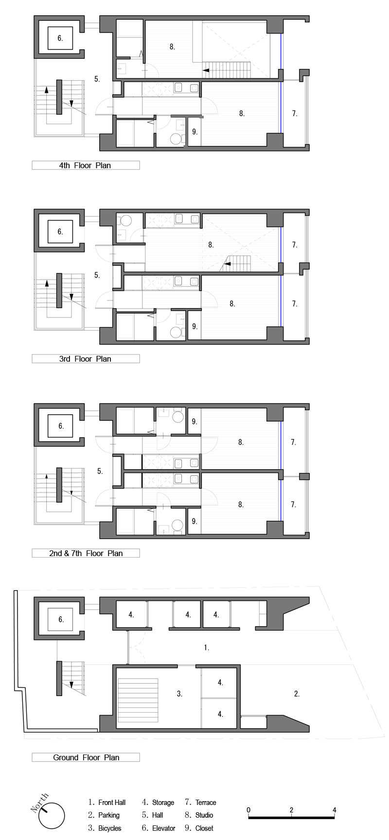 Apartment in Katayama Elevation Section and Floor Plans WHAT