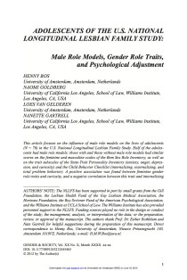 Adolescents of the U.S. National Longitudinal Lesbian Family Study: Male Role Models, Gender Role Traits and Psychological Adjustment.