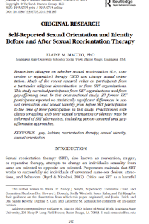 Self-Reported Sexual Orientation and Identity Before and After Sexual Reorientation Therapy.