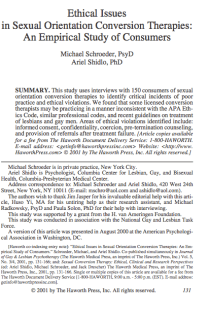 Ethical issues in sexual orientation conversion therapies: An empirical study of consumers.
