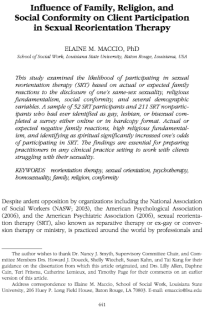 Influence of Family, Religion, and Social Conformity on Client Participation in Sexual Reorientation Therapy