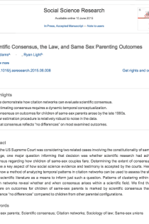 Scientific Consensus, the Law, and Same Sex Parenting Outcomes
