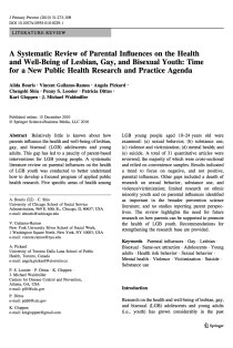 A systematic review of parental influences on the health and well-being of lesbian, gay, and bisexual youth: Time for a new public health research and practice agenda.