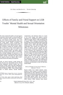 Affects of Family and Friend Support on LGB Youths' Mental Health and Sexual Orientation Milestones.