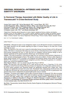 Is hormonal therapy associated with better quality of life in transsexuals? A cross-sectional study