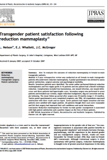 Transgender patient satisfaction following reduction mammaplasty