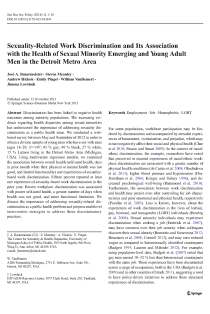 Sexuality-related work discrimination and its association with the health of sexual minority emerging and young adult men in the Detroit Metro Area.