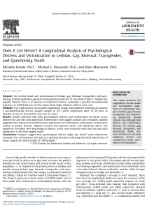 Does it get better? A longitudinal analysis of psychological distress and victimization in lesbian, gay, bisexual, transgender, and questioning youth.