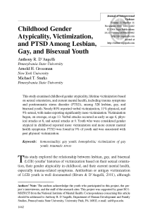 Childhood gender atypicality, victimization, and PTSD among lesbian, gay, and bisexual youth.