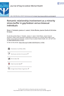 Romantic relationship involvement as a minority stress buffer in gay/lesbian versus bisexual individuals.