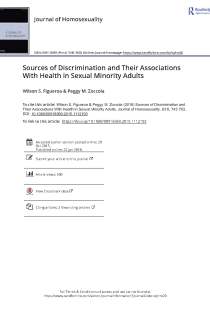 Sources of Discrimination and Their Associations With Health in Sexual Minority Adults.
