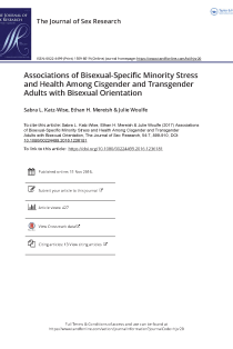 Associations of Bisexual-Specific Minority Stress and Health Among Cisgender and Transgender Adults with Bisexual Orientation.