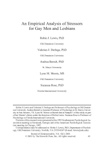 An empirical analysis of stressors for gay men and lesbians.