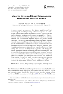 Minority stress and binge eating among lesbian and bisexual women.