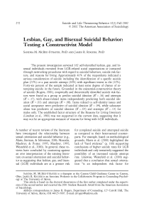 Lesbian, gay, and bisexual suicidal behavior: testing a constructivist model.