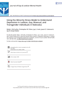 Using the minority stress model to understand depression in lesbian, gay, bisexual, and transgender individuals in Nebraska.