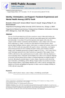Identity, Victimization, and Support: Facebook Experiences and Mental Health Among LGBTQ Youth.