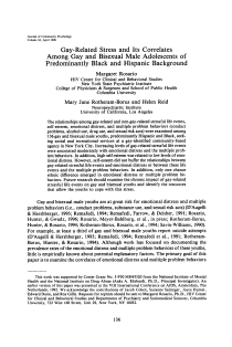 Gay-related stress and its correlates among gay and bisexual male adolescents of predominantly Black and Hispanic background.