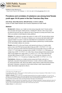 Prevalence and correlates of substance use among transfemale youth ages 16-24 years in the San Francisco Bay Area.