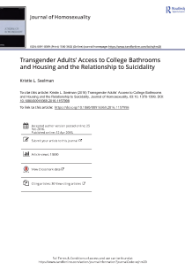 Transgender Adults' Access to College Bathrooms and Housing and the Relationship to Suicidality.