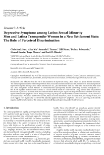 Depressive Symptoms among Latino Sexual Minority Men and Latina Transgender Women in a New Settlement State: The Role of Perceived Discrimination.