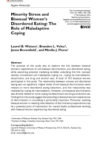 Minority stress and bisexual women's disordered eating: The role of maladaptive coping.