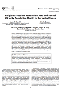 Religious freedom restoration acts and sexual minority population health in the United States.