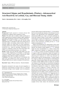 Structural stigma and hypothalamic-pituitary-adrenocortical axis reactivity in lesbian, gay, and bisexual young adults.