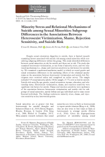 Minority Stress and Relational Mechanisms of Suicide among Sexual Minorities: Subgroup Differences in the Associations Between Heterosexist Victimization, Shame, Rejection Sensitivity, and Suicide Risk.