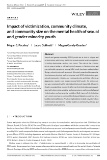 Impact of victimization, community climate, and community size on the mental health of sexual and gender minority youth.