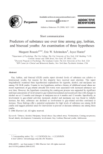 Predictors of substance use over time among gay, lesbian, and bisexual youths: an examination of three hypotheses.