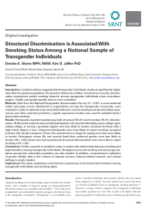 Structural Discrimination is Associated With Smoking Status Among a National Sample of Transgender Individuals.