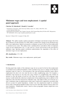 Minimum Wages and Teen Employment: A Spatial Panel Approach.