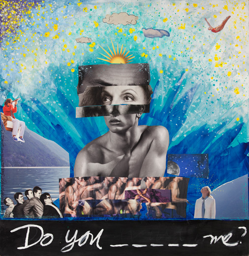 """""""Do You ______ Me?, 2013"""" 26""""x26"""" unique mixed media by Shannon McDonald (courtesy of the artist and Panopticon Gallery)"""