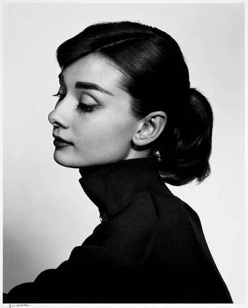 """""""Audrey Hepburn"""" gelatin silver print by Yousuf Karsh (courtesy of theEstate of Yousuf Karsh and MFA, Boston)"""