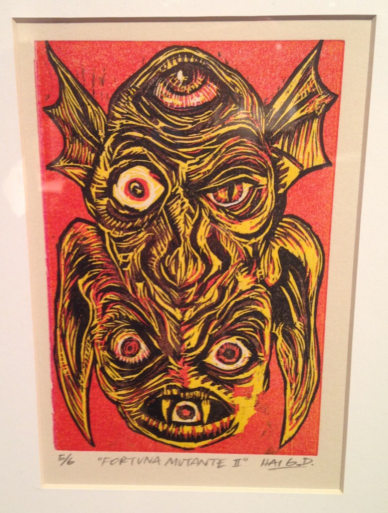 """""""Fortuna Mutante II, 2012"""" reductive woodcut by Haig Demarjian (courtesy of the artist and Lamont Gallery, Exeter, NH)"""