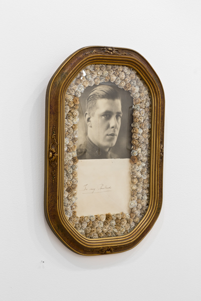 """""""To My Rosebud, 2014"""" unique, one-of-a-kind vintage frame with convex glass, original vintage print, vintage envelope and handmade roses from soldiers' letters (WWII to Korean War) by Caleb Cole (courtesy of the artist and Gallery Kayafas, Boston)"""