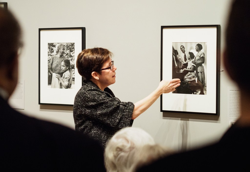 "Karen Haas leads a tour of the current exhibit ""Gordon Parks: Back to Fort Scott"" which she curated at the Museum of Fine Arts, Boston (photo courtesy of Greg Heins)"