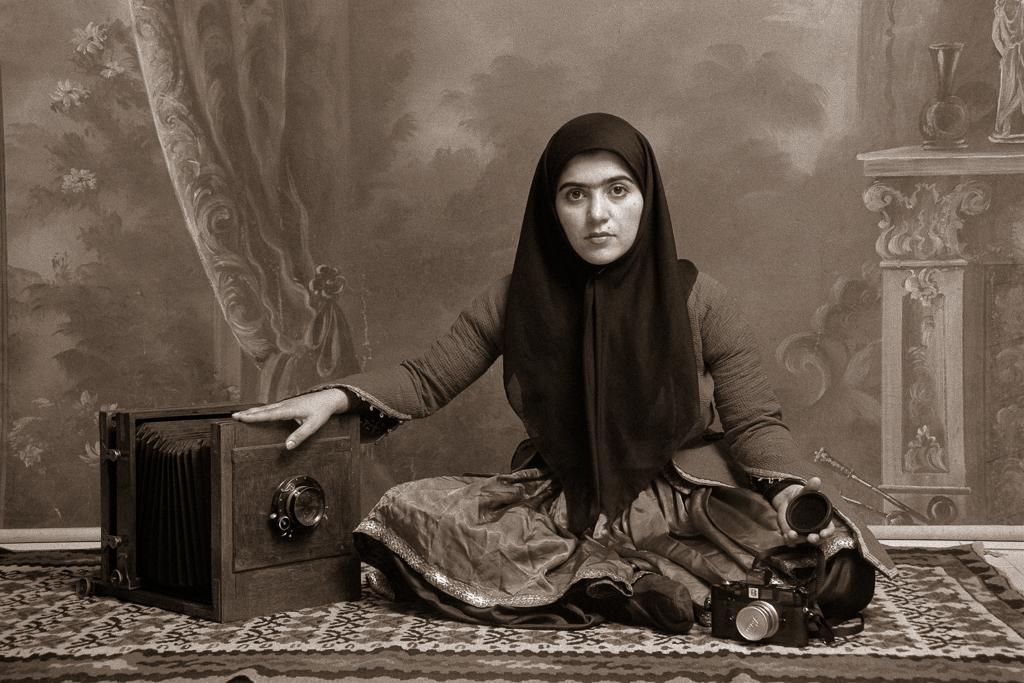"""Qajar #19, 1998"" by Shadi Ghadirian (courtesy of the artist and Robert Klein Gallery, Boston)"