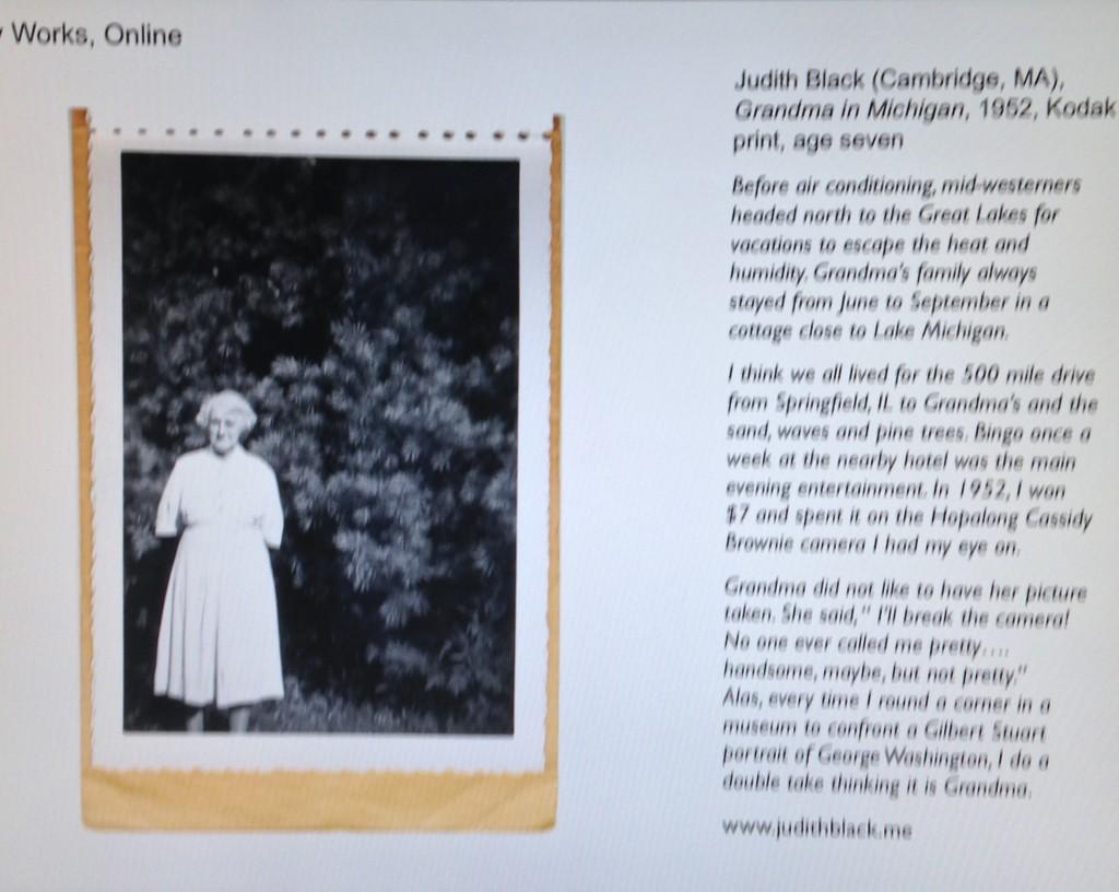 """Grandma in Michigan, 1952"" by Judith Black (courtesy of the artist and PRC, Boston)"