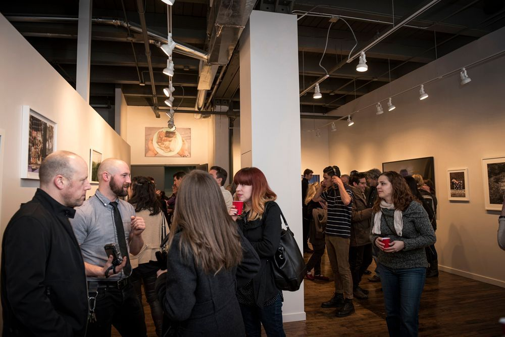 "Opening reception for ""Context 2015"", the inaugural exhibit at Filter Space in Chicago's West Town (photo by Erin Hoyt)."