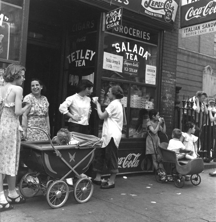 """""""Women and Children, West End, Boston (Salada Tea), c. 1947"""" by Jules Aarons (courtesy of the Jules Aarons Estate and Gallery Kayafas, Boston)"""
