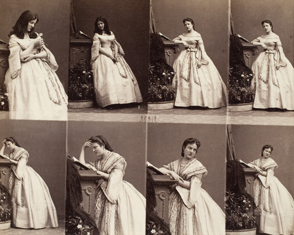 """Cartes-des-visites of """"Madame Cusani, c.1860"""" by French couple Genevieve Elizabeth Francart and Andre-Adolphe-Eugene Disderi"""