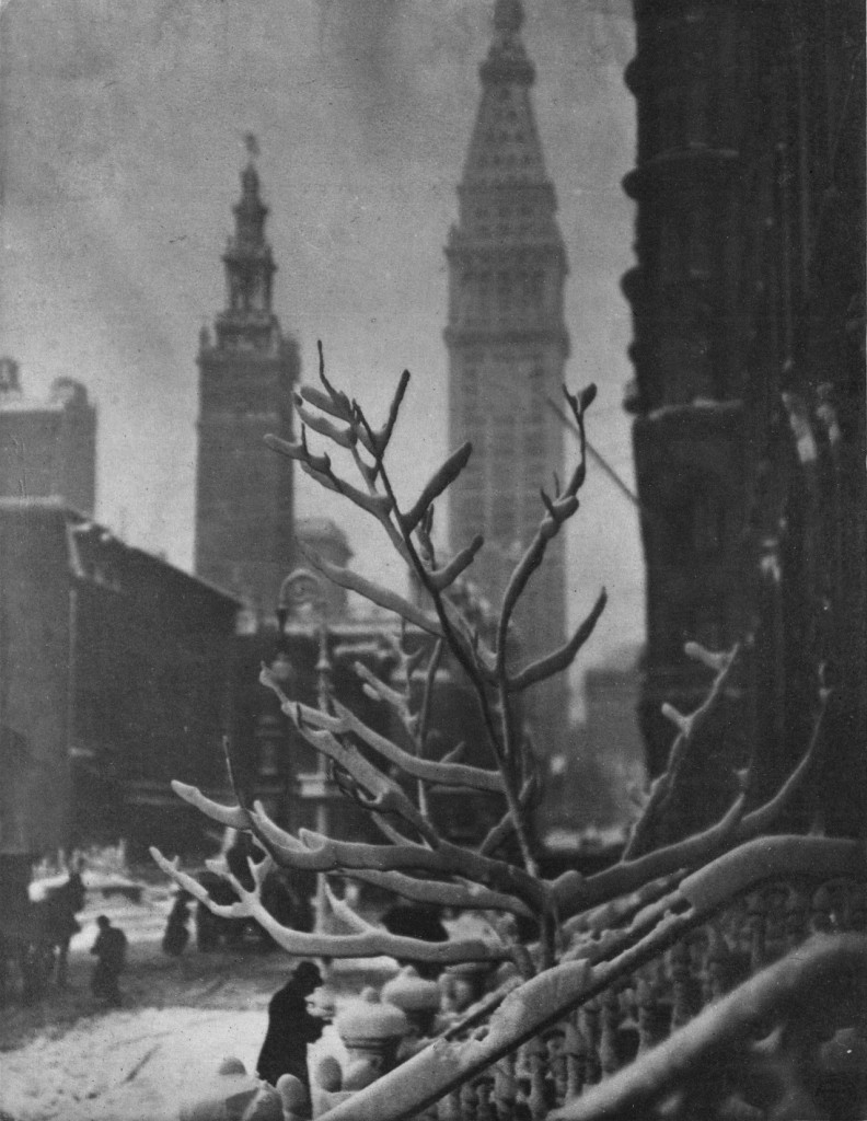 """""""Two Towers, New York, 1913"""" photogravure by Alfred Stieglitz, in an original copy of Camera Work magazine, on display at Addison Gallery in Andover, MA through July 31, 2015 (courtesy of the gallery)."""