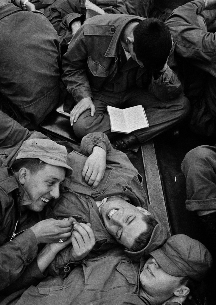 """""""Making the Best of It, Troopship to Korea, 1952"""" by Harold Feinstein (courtesy of the artist's estate and Panopticon Gallery, Boston)."""